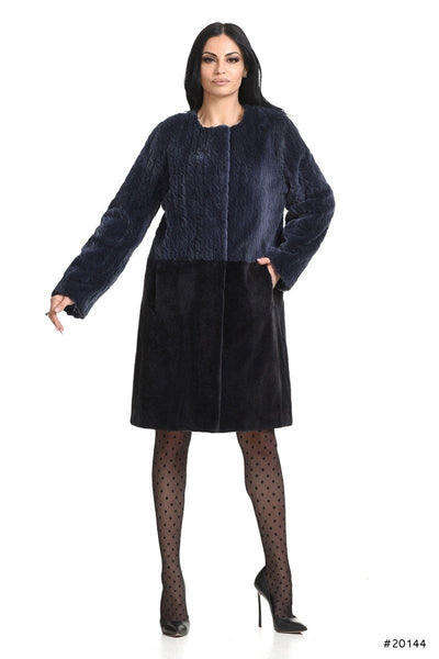 Classy sheared mink coat with wool lazered effect in top part - Manakas Frankfurt