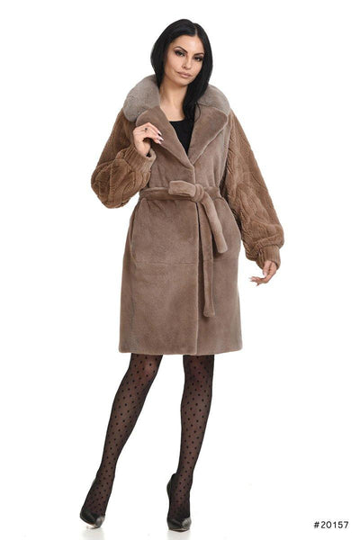 Sheared mink coat with lazered wool effect in sleeves - Manakas Frankfurt
