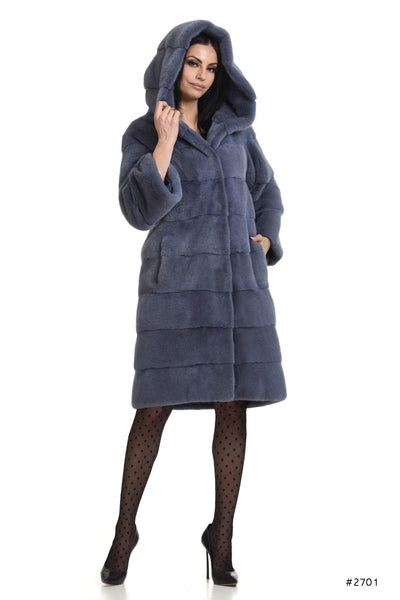 Casual hooded mink coat with stand up collar - Manakas Frankfurt