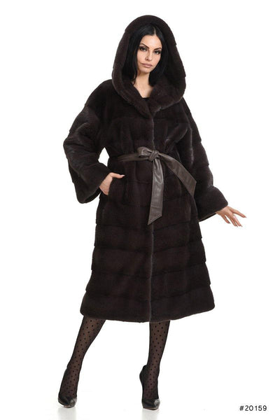 Hooded mink coat with leather belt inside the waist - Manakas Frankfurt