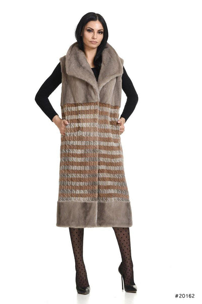 Mink vest with exclusive knitted wool striped pattern and Maxi-collar - Manakas Frankfurt
