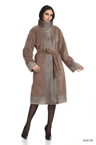 Sheared mink coat with lazered wool effect trimmings - Manakas Frankfurt