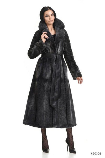 Classy persian lamb and mink long coat - Manakas Frankfurt