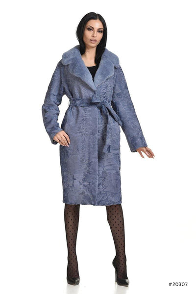 Persian lamb coat with mink english collar and leather belt - Manakas Frankfurt