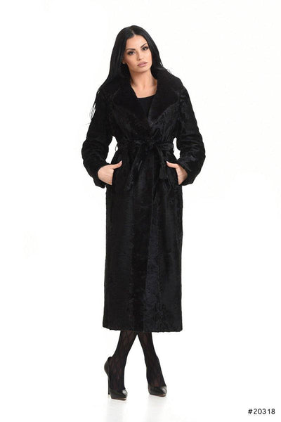 Long persian lamb coat with mink english collar - Manakas Frankfurt