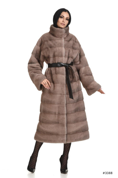 Long mink coat with stand up collar and leather belt - Manakas Frankfurt