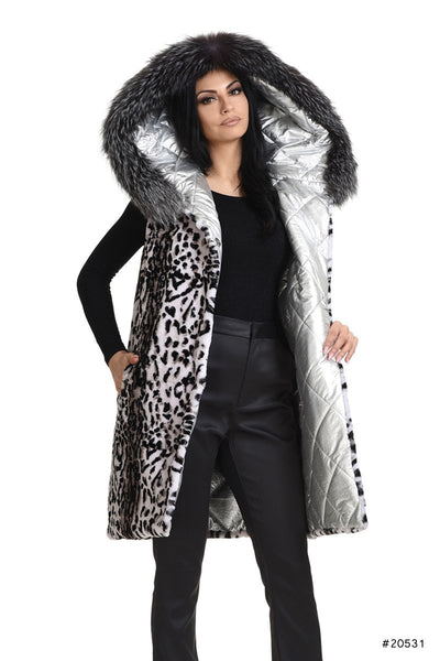 Silver Reversible sheared printed mink vest with fox hood trimming - Manakas Frankfurt
