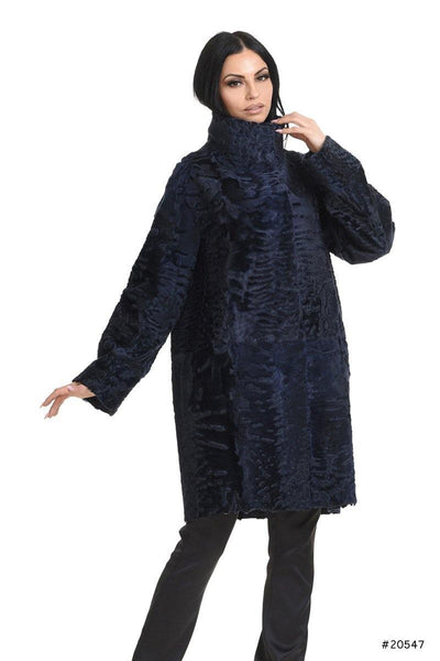 Reversible persian lamb coat with metallic leather - Manakas Frankfurt