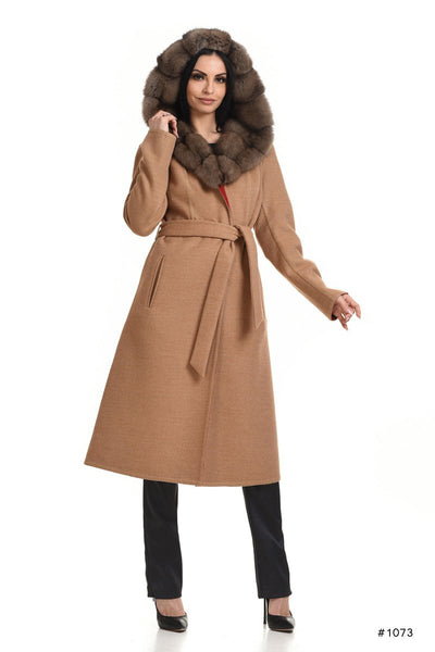 Hooded Loro Piana cashmere coat with sable - Manakas Frankfurt