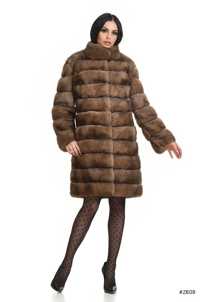 Classic sable coat with stand up collar - Manakas Frankfurt