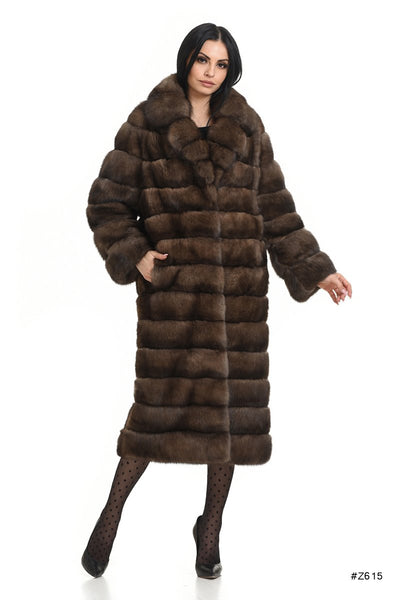 Long sable coat with english collar - Manakas Frankfurt