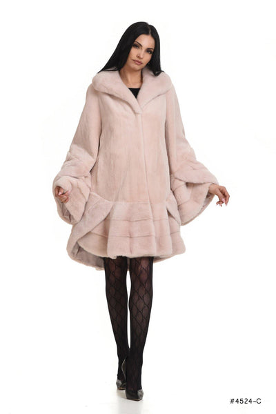Exclusive classy sheared mink coat with long hair rouches - Manakas Frankfurt