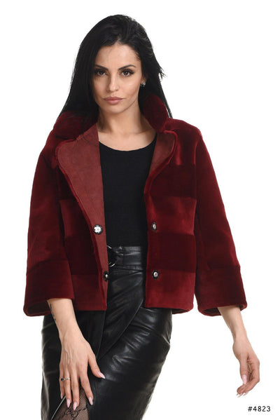 Reversible sheared mink jacket with suede leather - Manakas Frankfurt