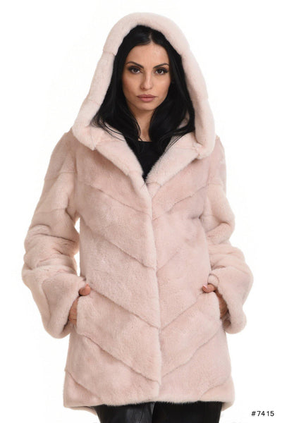 Hooded mink jacket with a shaped line - Manakas Frankfurt