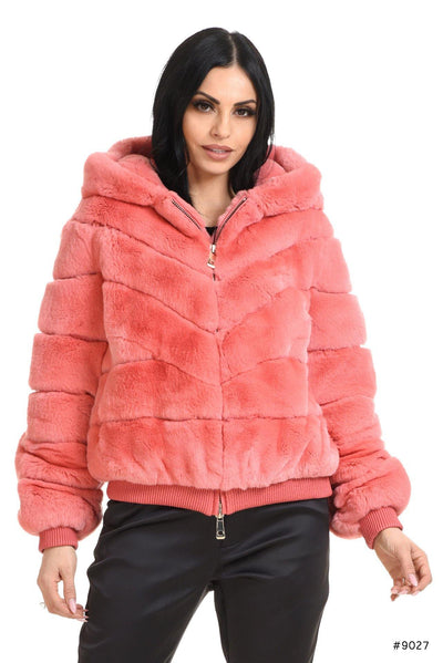 Rex Rabbit fur bomber jacket with hood - Manakas Frankfurt