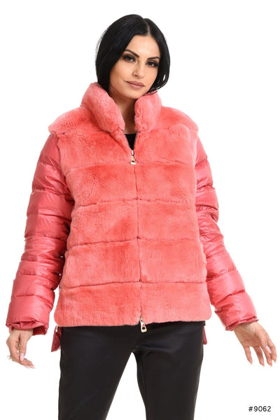Glamorous duck down jacket with Rex rabbit fur - Manakas Frankfurt