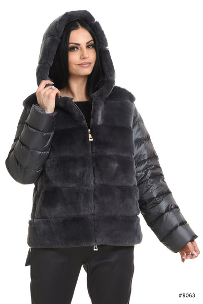 Exclusive hooded Rex rabbit jacke with duck down - Manakas Frankfurt