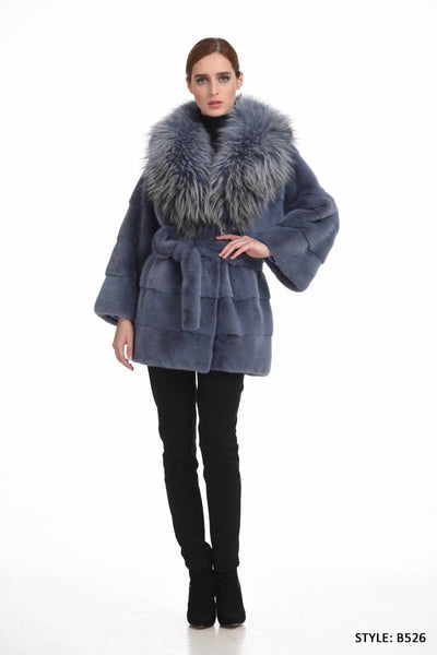 Horizontal Mink jacket with fox collar - Manakas Frankfurt