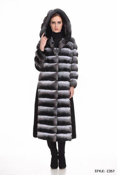 Chinchilla coat with black mink details - Manakas Frankfurt