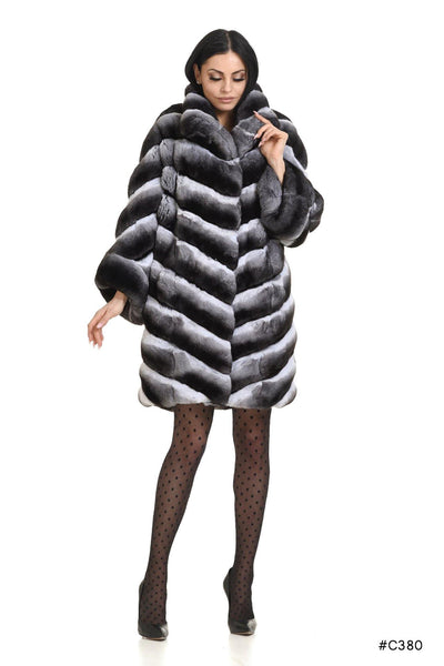 Chinchilla coat with asymmetrical sleeves - Manakas Frankfurt