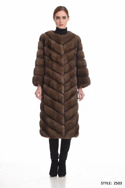 Long diagonal sable coat with chanel collar - Manakas Frankfurt