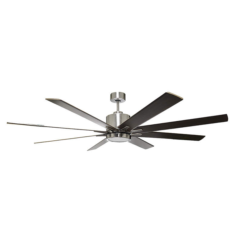 METRO 8-blade 66 in. Brushed Nickel Ceiling Fan with 16 watt LED light kit and Silver/Walnut Blades - Wall Control Included