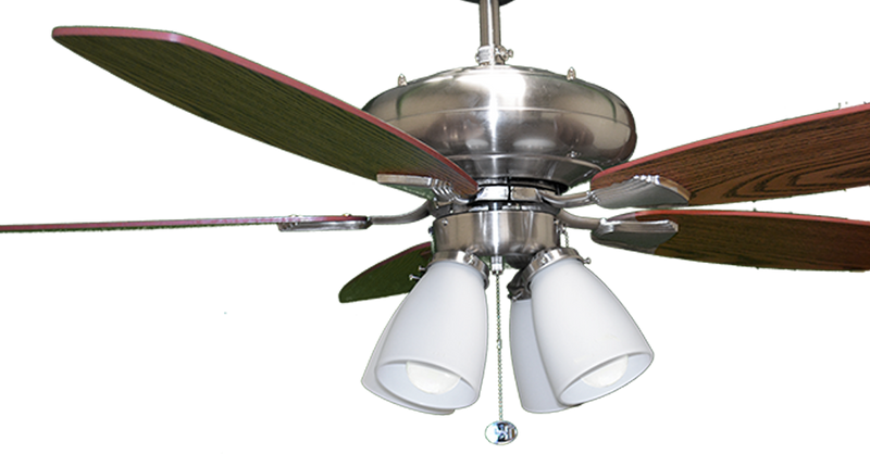 "U552 NK5SV/WL +4G431 (4xLED 3K) - 52"" Brushed Nickel 5-Blade UFO Fan Silver/Walnut Blades 4-Light White Glass LED Kit"