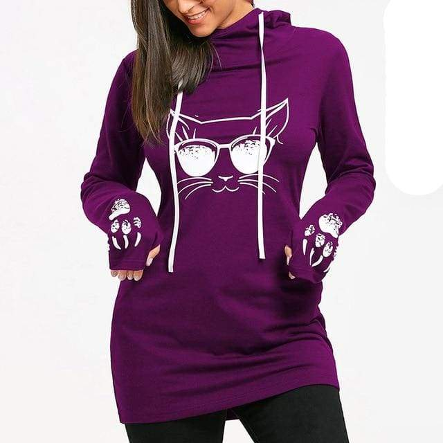 Fitted Cool Cat Hoodie - hoodie