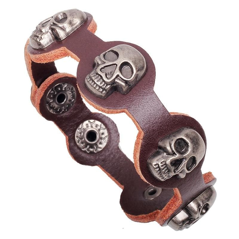 FREE Braided Leather Steampunk Skull Bracelet - FLASH OFFER - Brown - Bracelet