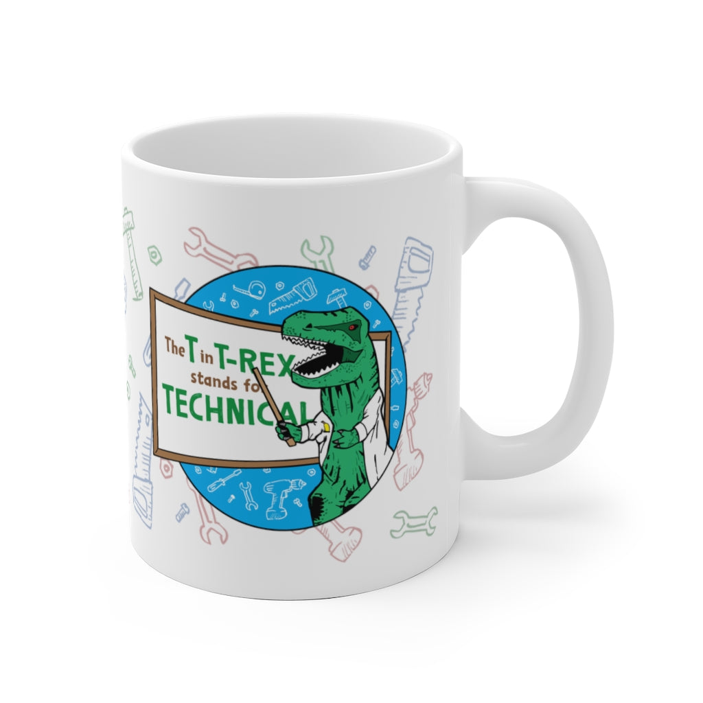 Whiteboard T-Rex - White Mug 11oz