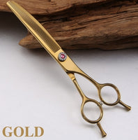 Fenice Professional JP440c 7 inch High quality Pet dog Grooming Scissors Curved thinning shears Thinning rate about 25%