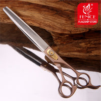 Fenice Japan 440C stainless steel 7 inch 7.5 inch  thinning rate 35% rose gold pet dog grooming thinning scissors