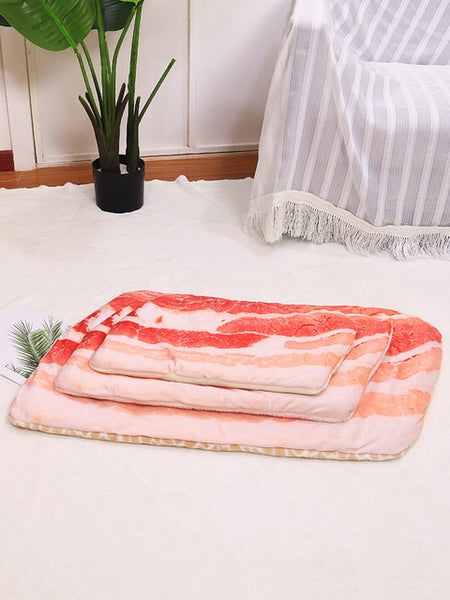 New Comfort Pet Cat Dog Sleeping Bed Mat Cat Soft Warm Flannel Blanket Poached Egg Novelty Sleep Pad Pizza Sleeping Blankets