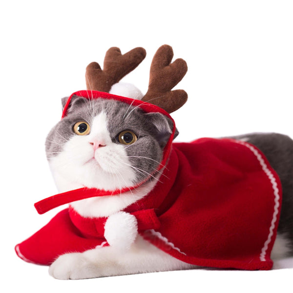 Pet Dog Cat Costume Christmas Antlers Hat Cloak Halloween Disguise Clothes For Cats Small Dogs New Year Suit Funny Pet Accessory