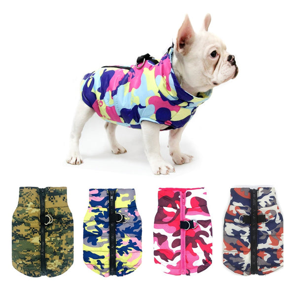 Waterproof Dog Clothes Winter Pet Jacket Cotton Warm Camouflage Vest For Small Dogs Puppy Coat French Bulldog Clothing Cat Suit