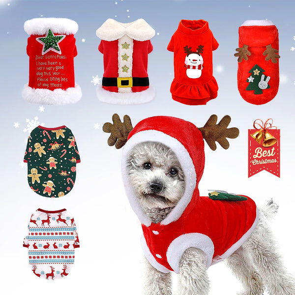 Christmas Dog Clothes For Small Dogs Winter Dog Cat Costume Puppy Clothes Vest Shirt New Year Pet Chihuahua Clothing Jacket