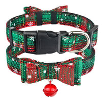 Christmas Dog Collar & Bell Fabric Female Male Puppy Pet Bow Tie Adjustable XS-L