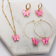 Load image into Gallery viewer, Acrylic Butterfly Pendant Earrings/Necklace Combination Set