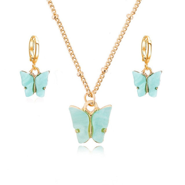 Acrylic Butterfly Pendant Earrings/Necklace Combination Set