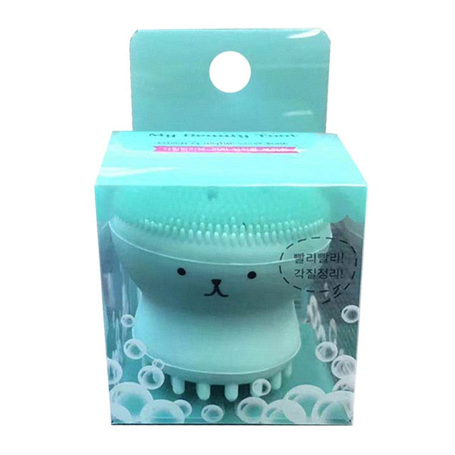 Jellyfish Silicon Brush - All in One Deep Pore Cleansing Sponge & Brush, For Exfoliating, Massage, Cleansing Soft Brush