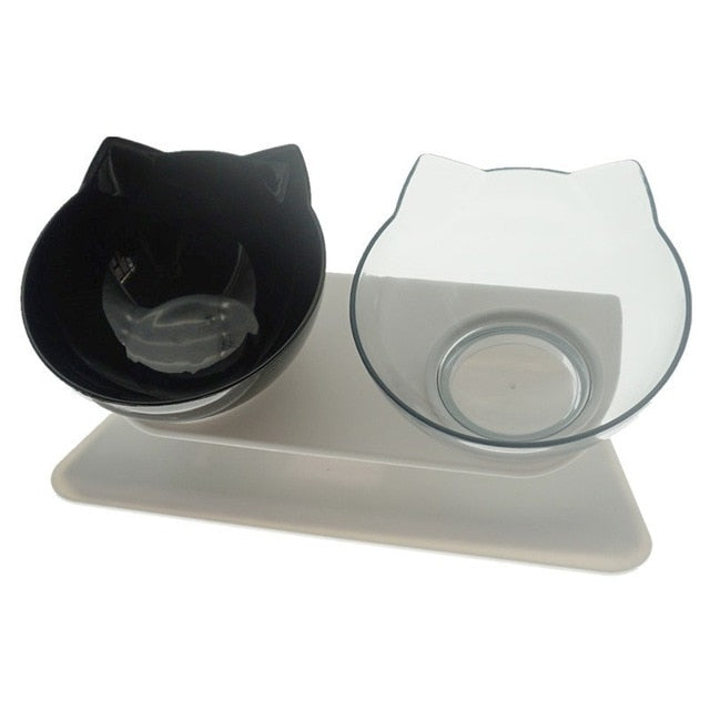 Non-Slip Cat Double Bowls Feeder with Raised Stand for Cats/Dog