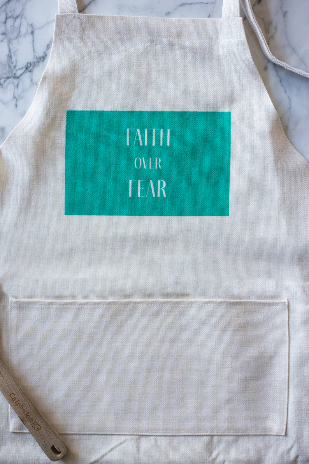 Natural Linen Apron with Pocket - Faith over Fear