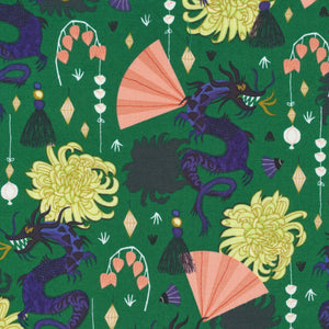 Fierce Green - Organic Fabric, Quilter's Weight