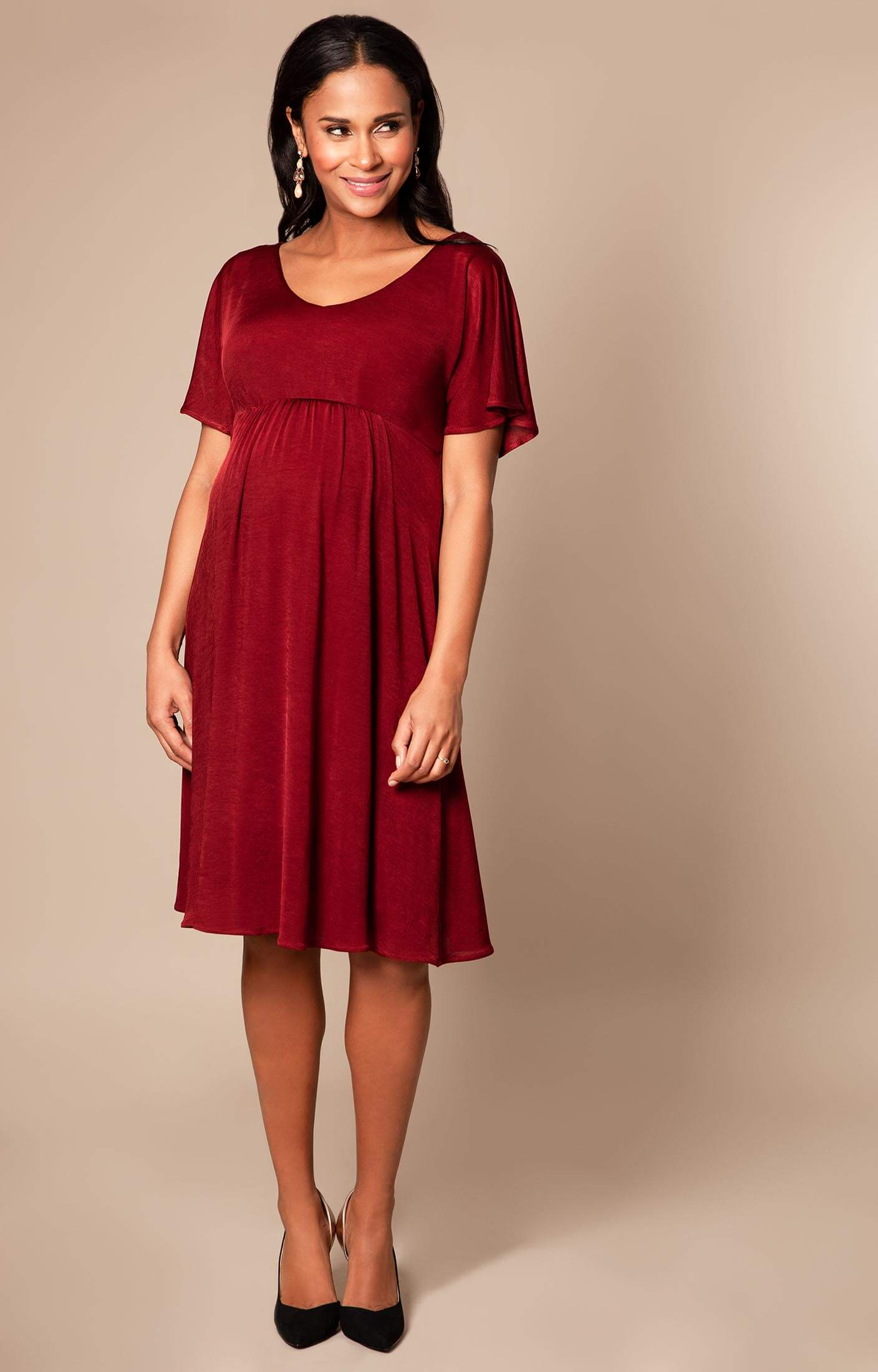 Kimono dress berry red
