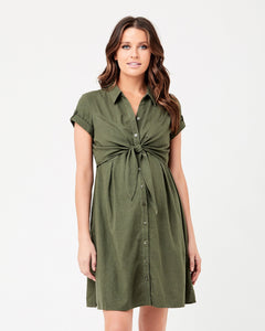 Ripe Maternity - Colette tie up dress olive | MILD maternity boutique - maternity clothes at Mechelen