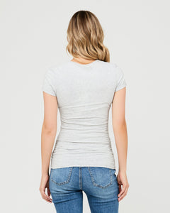 Ripe Maternity - Organic nursing tee silver marle | MILD maternity boutique - maternity clothes at Mechelen