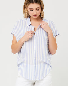 Ripe Maternity - Quinn relaxed shirt blue | MILD maternity boutique - maternity clothes at Mechelen