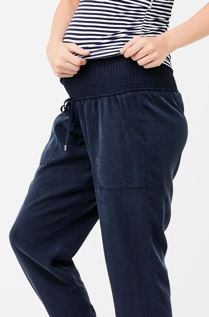 Tencel off duty pants navy