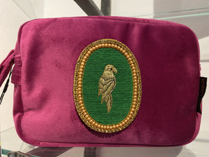 Velvet clutch bag / cosmetic purse with detacheable Parrot diamante, handmade brooch.