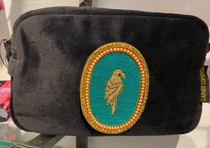 Laines London fuchsia Velvet Bag With Parrot Diamanté Brooch